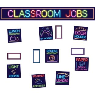 Classroom Jobs Pocket Chart Cards  Neon - 73 cards