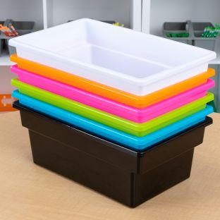 All Purpose Bins for Classroom or Home Use – Sturdy Plastic Book Bins in Fun Neon Colors  6 Colors Set of 6 Neon Pop
