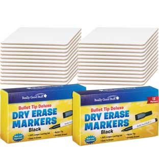 "9"" X 6"" Mini-Magnetic Dry Erase Boards – Set Of 24 Boards and 24 Markers"