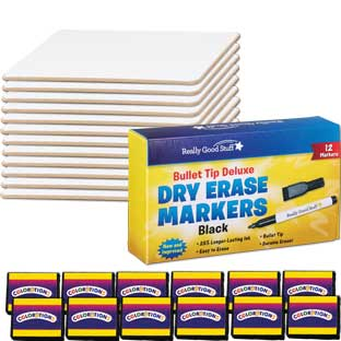 "9"" X 6"" Mini-Magnetic Dry Erase Boards – Set Of 12 Boards, 12 Markers and 12 Erasers"