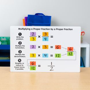 Teacher Demonstration Multiplying Proper Fractions Dry Erase Board - 1 board