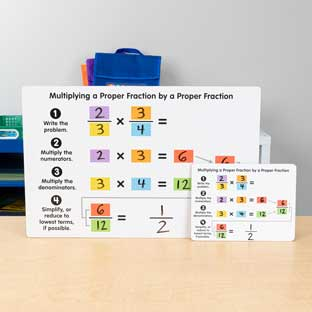 Multiplying Proper Fractions Dry Erase Boards  Teacher And Students Kit - 1 teacher board, 6 student boards