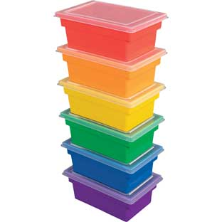 All-Purpose Bins And Lids  Set Of 6  6 Colors