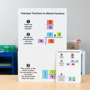 Improper And Mixed Fractions Dry Erase Boards  Teacher And Students Kit