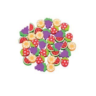 Fruit Pencil Topper Erasers - 36 erasers