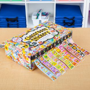 Classroom Stickers And Storage Box  2,240 Stickers - 2,240 stickers, storage box