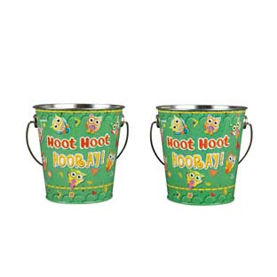 Owl Tin Pencil Cups - Set of 2