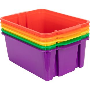Classroom Stacking Bins – 5 Group Colors – Set Of 5