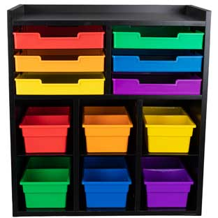 Black 6-Slot Mail And Supplies Center With 6 Trays, 6 Cubbies, And 6 Bins  Grouping
