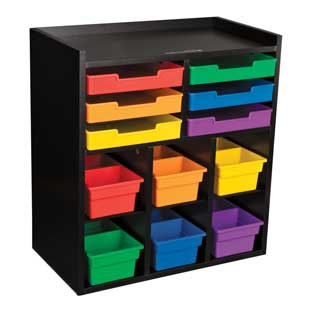 Black 6-Slot Mail Center With 6 Trays, 6 Cubbies, And 2-Compartment Bins - Grouping