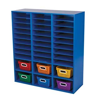 Blue 27-Slot Mail And Supplies Center With 6 Cubbies And Baskets  6 Colors