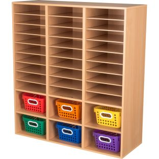 Oak 27-Slot Mail And Supplies Center With 6 Cubbies And Baskets  6 Colors