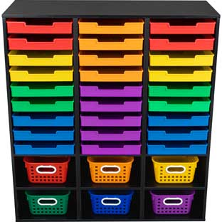 Black 27-Slot Mail And Supplies Center With 27 Trays, 6 Cubbies, And Baskets  Grouping