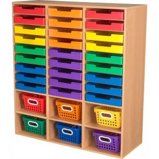 Oak 27-Slot Mail And Supplies Center With 27 Trays, 6 Cubbies, And Baskets  Grouping