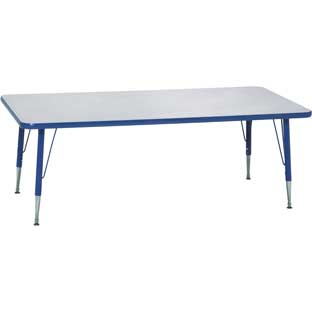 "Blue 18-25""H, 30"" x 60"" Rectangle Scholar Craft™ Activity Table"