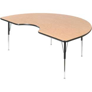"Wood Top 22-30""H, 48"" x 72"" Kidney Scholar Craft™ Activity Table"