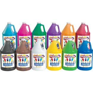 Colorations® Simply Washable Tempera Paint   Gallon, Set of 12 Colors