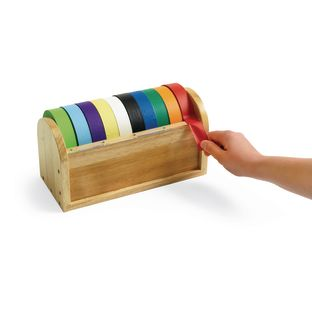 "Tape Dispenser with 10 Rolls of 1"" Colored Masking Tape"