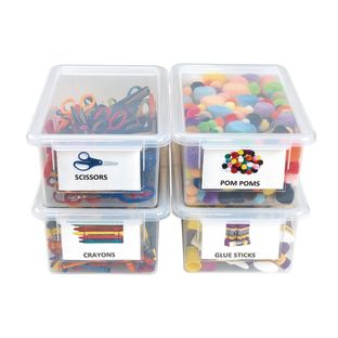 Clear Easy Label Bins with Lids - Set of 4