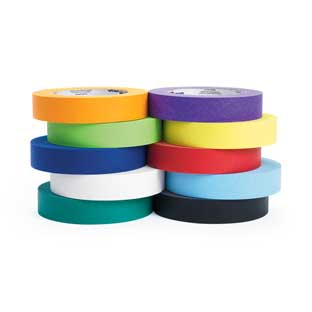 "Masking Tape, Set of 10 Colors, 1"" x 180 ft ea"