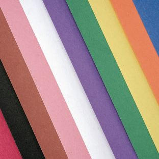 "Assorted Colors 9"" x 12"" Heavyweight Construction Paper Pack - 50 Sheets"