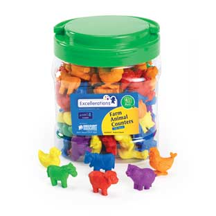 Excellerations Farm Animal Counters - 108 Pieces