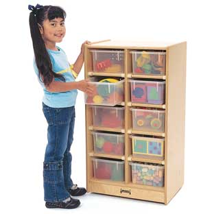 10-Cubbie Mobile Storage - With Assorted Color Trays - 1 mobile storage