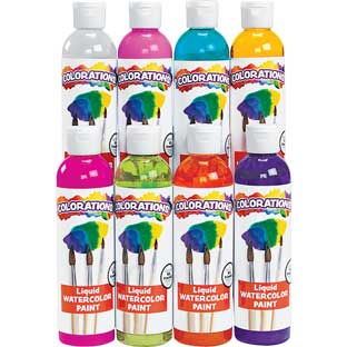 Colorations® Tropical Colors Liquid Watercolor Paint, 8 oz. -  Set of 8