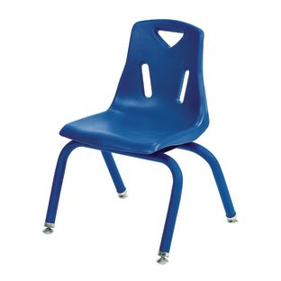 "16"" Stacking Chairs with Matching Legs, Blue - Set of 6"