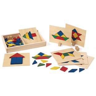 Excellerations® Wooden Pattern Blocks and Board Set - 69 Pieces