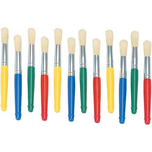Colorations® Plastic Handle Jumbo Chubby Paint Brushes - Set of 12