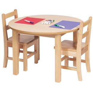 "30"" Round Maple Laminate Table - 14""H"