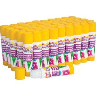 Colorations Premium White Washable Glue Sticks, Set of 50