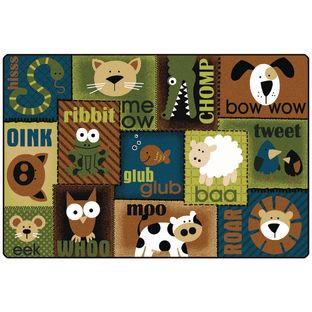 Animal Sounds Nature 6' x 9' Rectangle KIDSoft Premium Carpet - 1 carpet