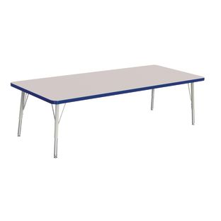 "Berries 30"" x 72"" Rectangle Activity Table, 15"" - 24"" Leg Height - Blue"