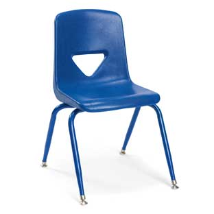"Blue 13-1/2""H Scholar Craft Stacking Chairs with Matching Legs  Set of 5"