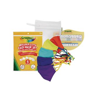 Crayola Kids Reusable Cloth Face Mask Set of 5 with Mesh Laundry Bag, Cool Colors