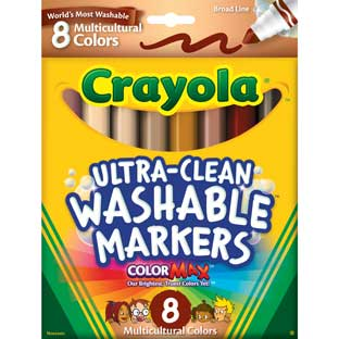 Crayola Multicultural Ultra-Clean Washable Markers - 8 crayons