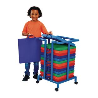 Environments Indoor/Outdoor Sit-Upon Set of 15 with Mobile Storage Cart