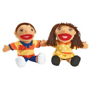 Excellerations Hispanic Girl and Boy Puppet Pair - 1 pair