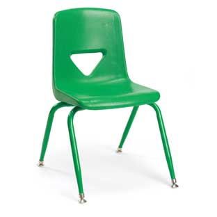 "Green 13-1/2""H Scholar Craft Stacking Chairs with Matching Legs  Set of 5"