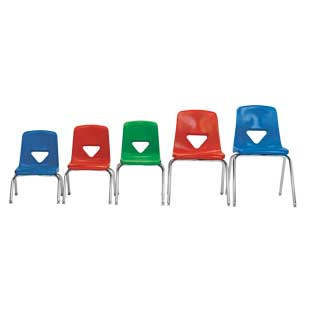 """Green 17-1/2""""H Scholar Craft Stacking Chairs with Chrome Legs  Set of 5"""