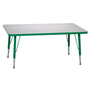 "Green 22-30""H, 30"" x 60"" Rectangle Scholar Craft Activity Table - 1 table"