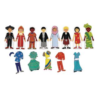 Magnetic Multicultural Dressing Dolls - 8 dolls