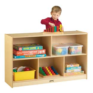"Preschool Mobile Divided Shelf Storage - Plywood Back, 29-1/2""H - 1 storage"