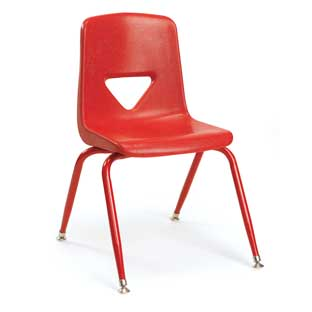 "Red 13-1/2""H Scholar Craft Stacking Chairs with Matching Legs  Set of 5"