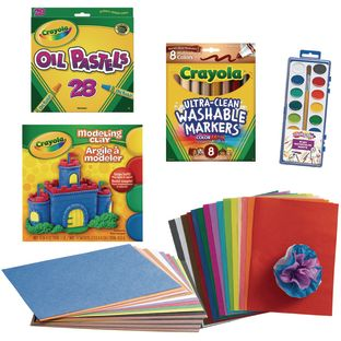 School Age Art Kit, 7 Art Supplies Collection - 1 multi-item kit