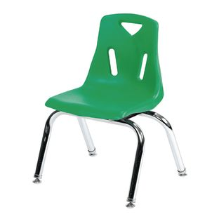 "Single 12"" Stacking Chairs with Chrome Legs - Green - 1 chair"