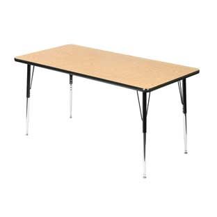 "Wood Top 22-30""H, 30"" x 60"" Rectangle Scholar Craft Activity Table"