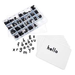 Magnetic Dry Erase Boards With Black Plastic Letters - 6 Student Pack